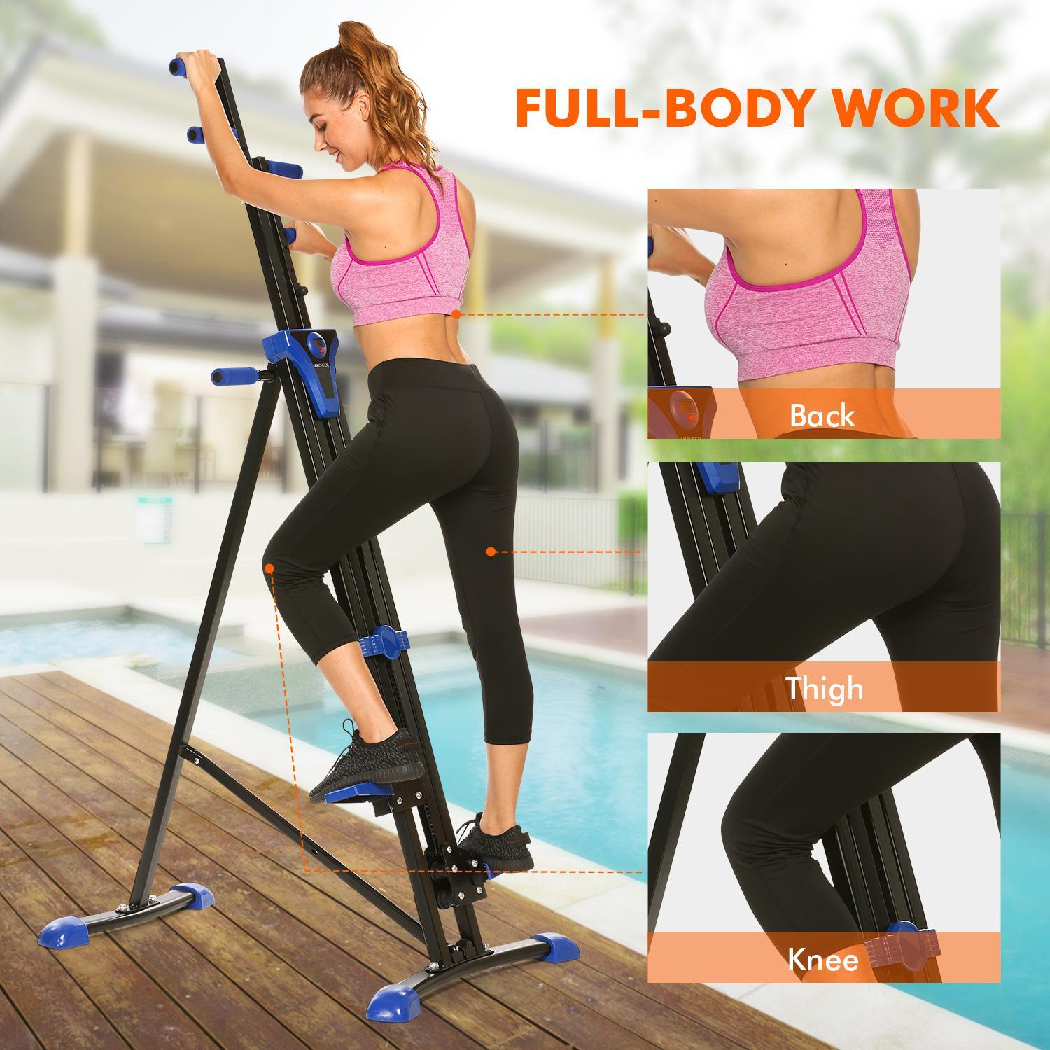 Clearence!Vertical Climber Stepper 2 In 1 Exercise Fitness Foldable Climbing Machine Stair