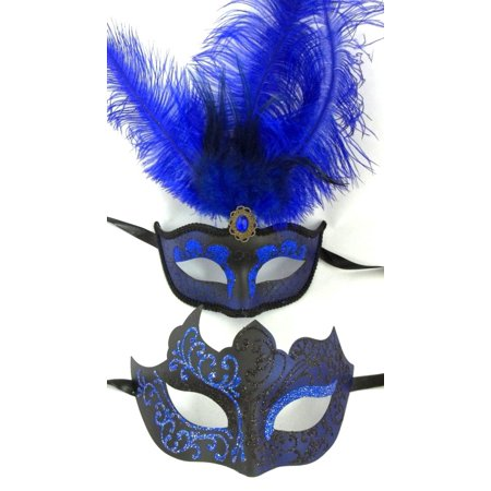 Blue Black Couples Man Woman Masquerade Mardi Gras Male Female Set Feather Mask for $<!---->