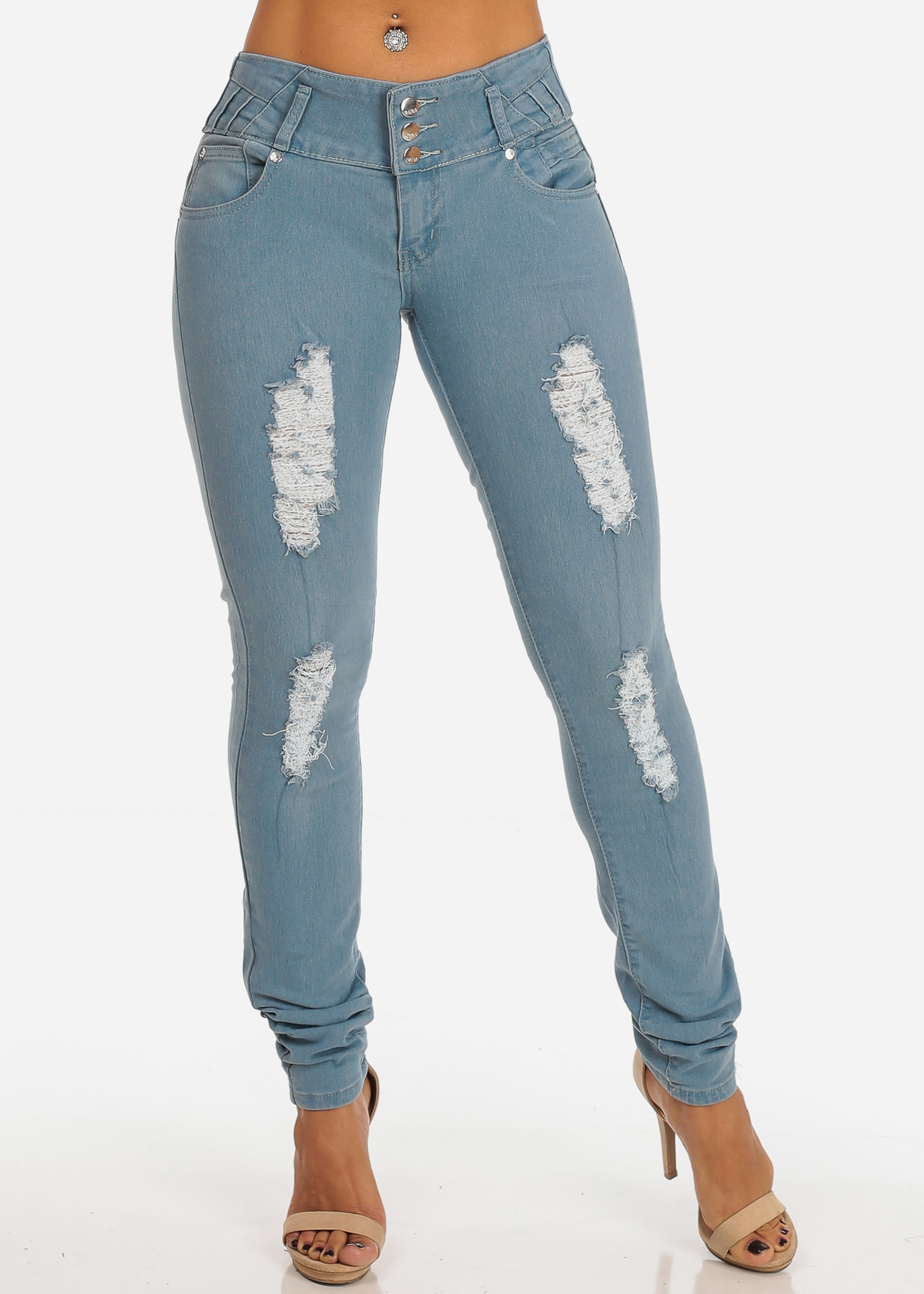 Womens Juniors Colombian Design Levanta Cola Light Wash 3 Button PUSH UP Ripped Distressed Stretchy Skinny Jeans 11053V