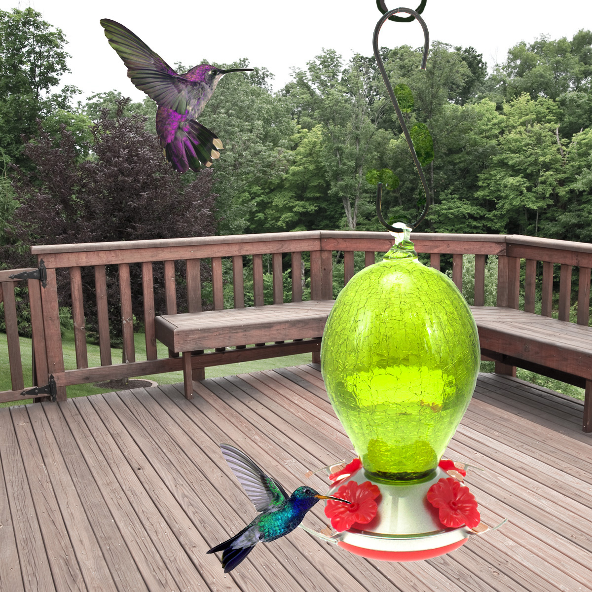 Gemstone Glass Hummingbird Feeder Hanging Humming Bird Nectar Emerald Green