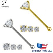14K Solid Gold Round Cubic Zirconia Body Jewelry End Bone Nose Stud 25g 1mm 1.5mm 2mm