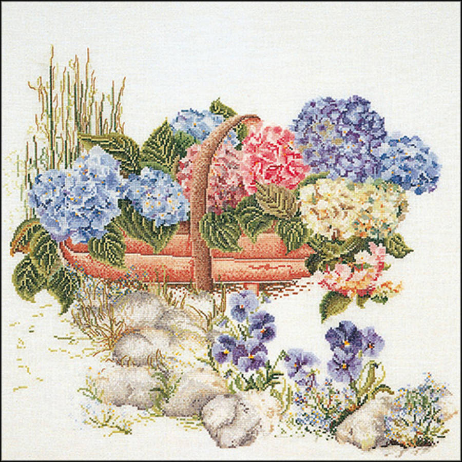 """Mixed Hydrangea On Aida Counted Cross Stitch Kit, 18.75"""" x 16"""", 16 Count"""