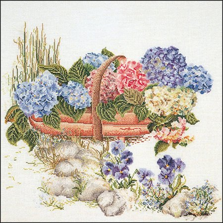 Mixed Hydrangea On Aida Counted Cross Stitch Kit, 18.75