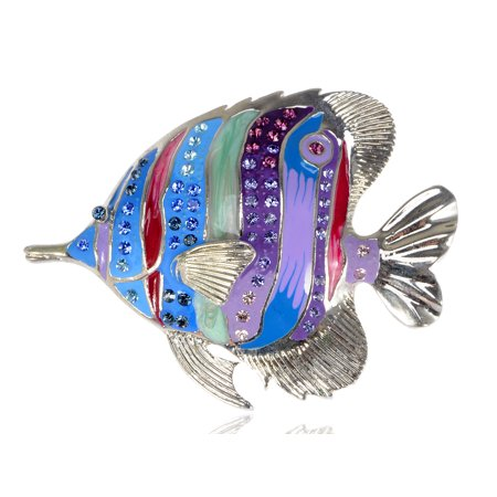 Capri Blue Creature Purple Crystal Rhinestone Tropical Jewel Fish Pin Brooch