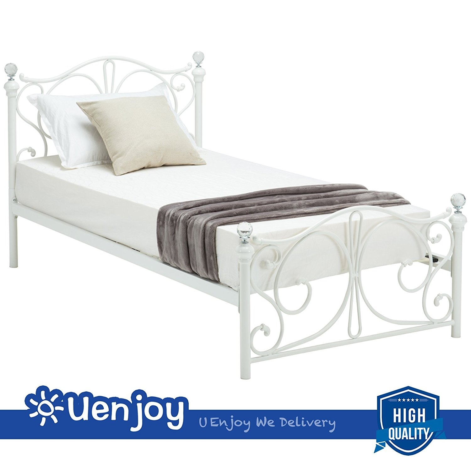 New MTN-G Twin Size Metal Bed Frame Cry Finial Headboard Footboard Bedroom Furniture