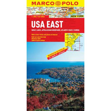 USA East Map : Great Lakes, Appalachian Mountains, Atlantic Coast, Florida