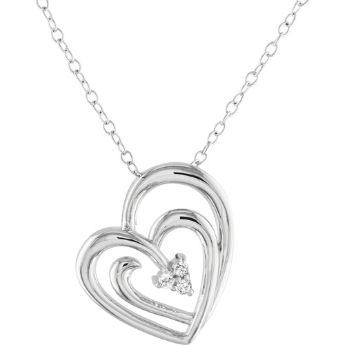 Miabella Diamond-Accent Sterling Silver Heart Pendant, 18""