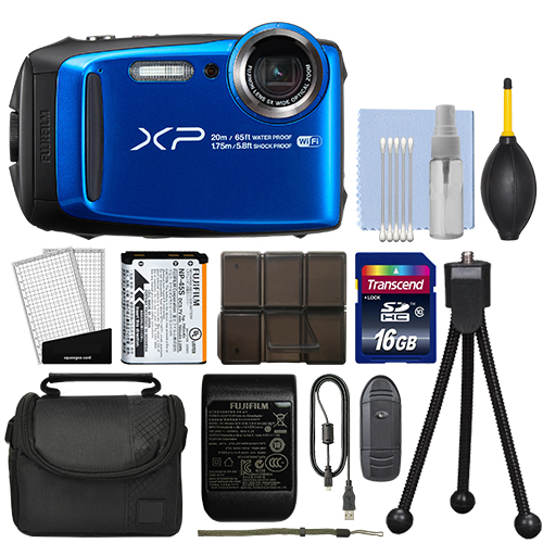 Fujifilm FinePix XP120 16.4MP Digital Camera Blue Full-HD + 16GB Kit