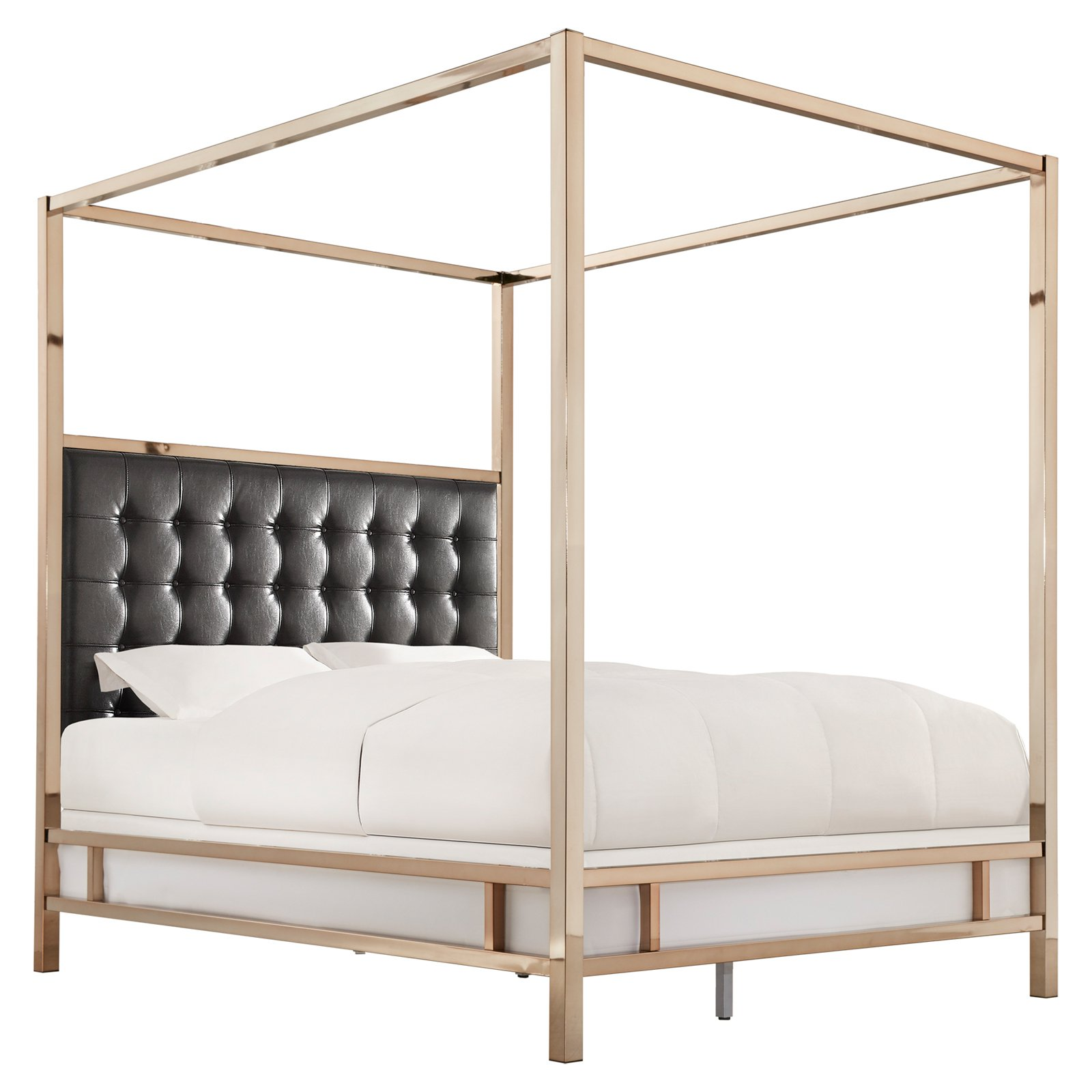 Weston Home Umberton Bonded Leather Canopy Bed