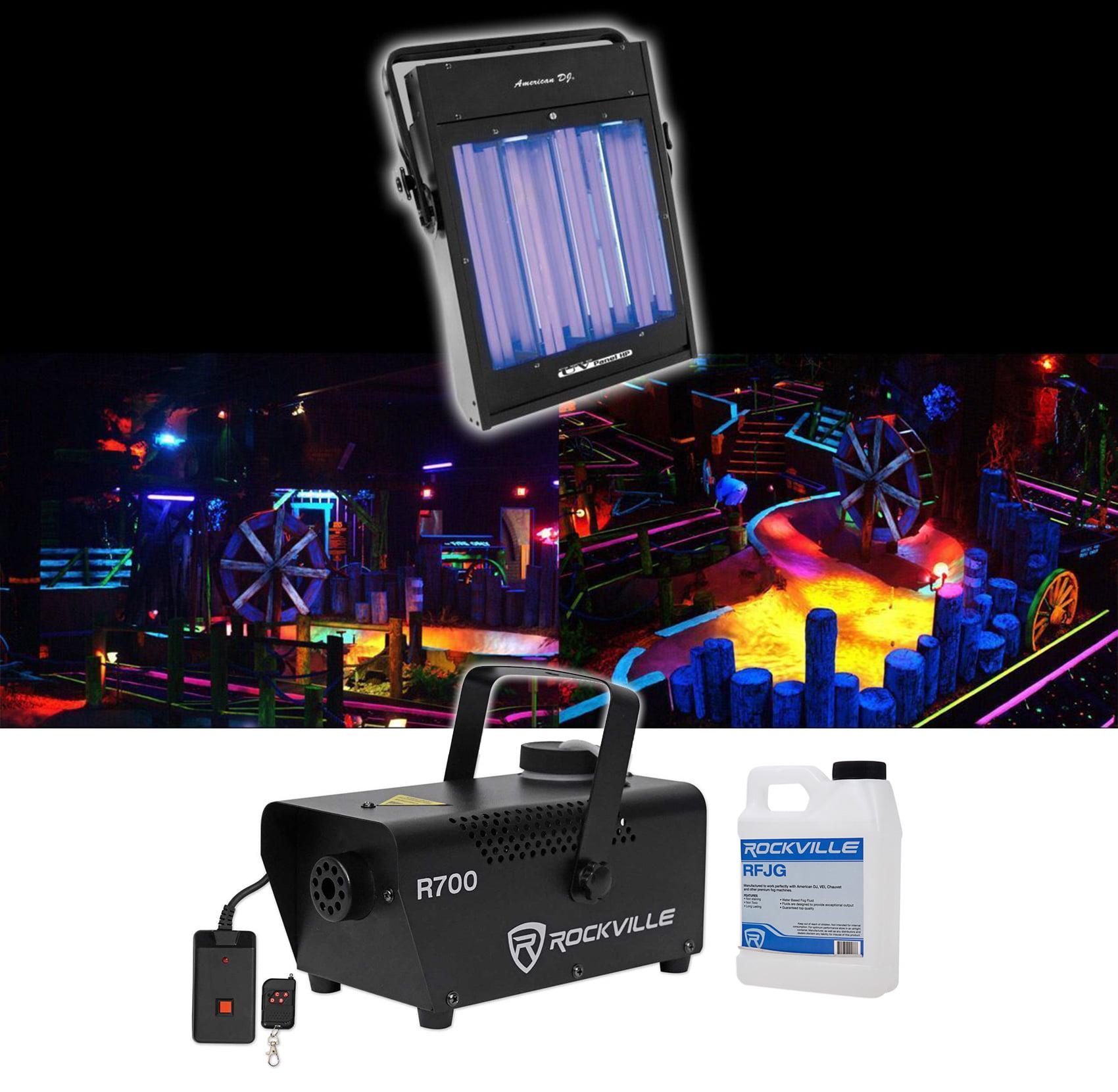 American DJ UV Panel HP 160 Watt Blacklight Wash Light Fixture+Fog Machine+Fluid by American DJ
