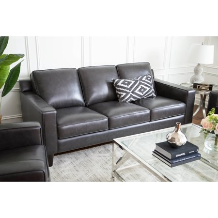 Devon & Claire Millie Top Grain Leather Steel Grey Sofa ()
