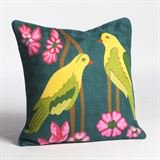 Abigails Crewel Pair of Birds Embroidery Wool Throw Pillow