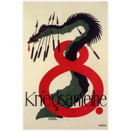 Large numeral eight with a dragon stabbed with arrows  Julius Klinger was an Austrian Painter draftsman illustrator commercial graphic artist typographer and writer Poster Print by Julius (Austrian Arrows Dash)