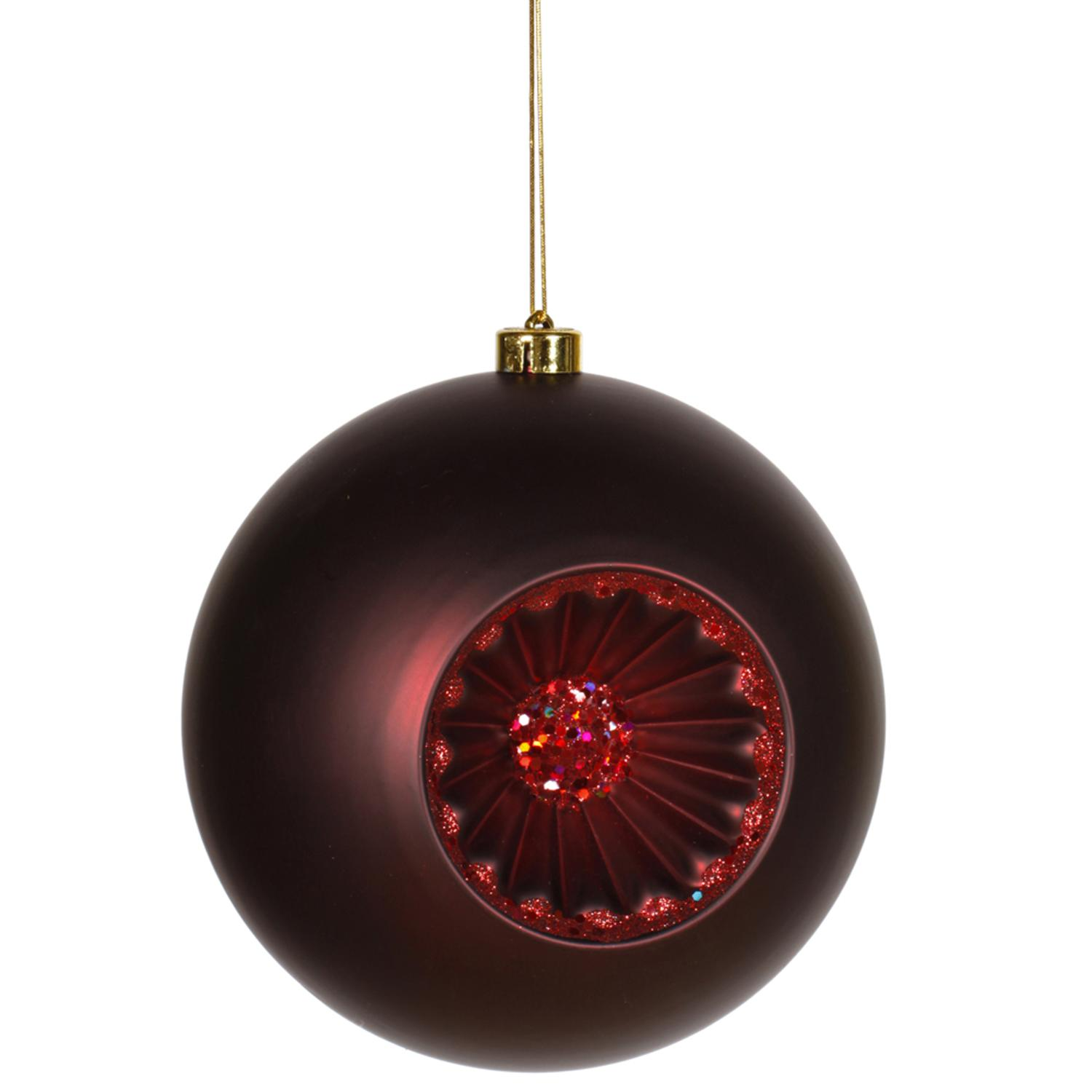 "Matte Red Hot Retro Reflector Shatterproof Christmas Ball Ornament 8"" (200mm) - image 1 of 1"