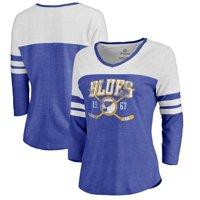 St. Louis Blues Fanatics Branded Women's Vintage Collection Line Shift Color Block Three-Quarter Sleeve Tri-Blend