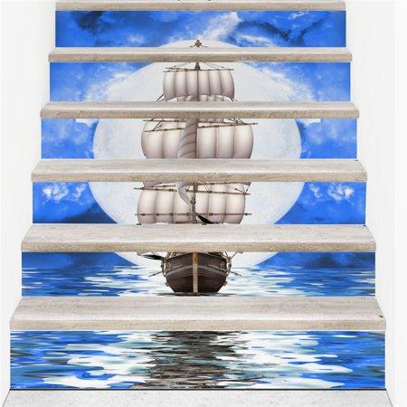 Stair Wall Sticker Home Decor DIY Rivers Landscape Theme Decor Sticker Wall Paper - image 1 de 4