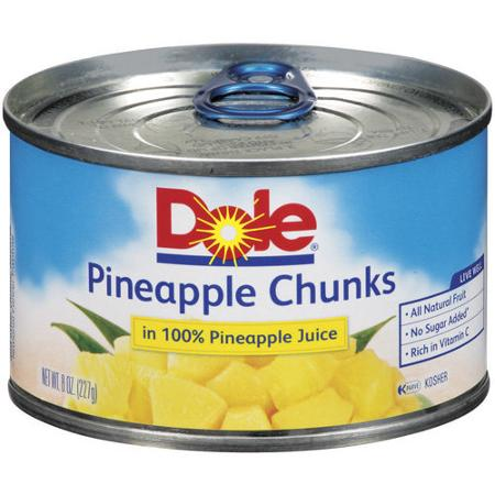 Dole Pineapple Chunks in 100% Pineapple Juice, 8 oz. Can