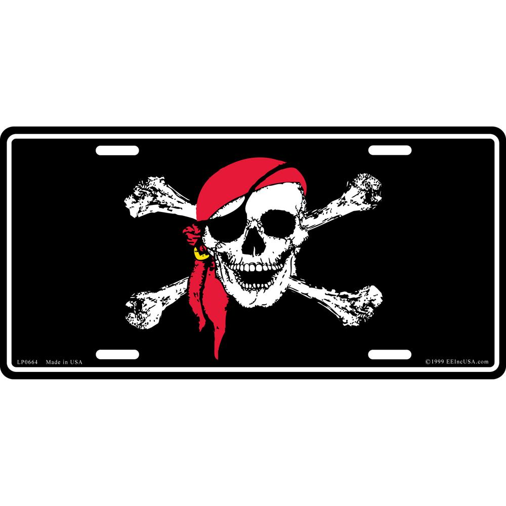 Jolly Roger Pirate with Red Bandanna License Plate