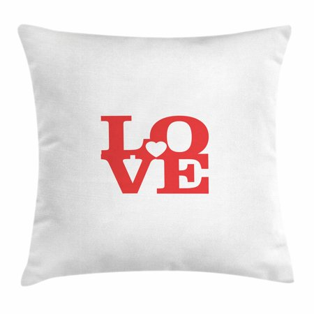 Love Throw Pillow Cushion Cover, Valentines Day Design Romance Themed Vintage Wedding Inspirations Typographic Retro, Decorative Square Accent Pillow Case, 16 X 16 Inches, Red White, by Ambesonne (Vintage Wedding Theme)