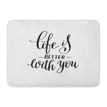 KDAGR Life is Better You Black and White Lettering Phrase About Love to Valentines Day Album Text Doormat Floor Rug Bath Mat 23.6x15.7 inch