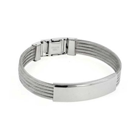 Identification Name Plate Multi Cable Engravable ID Bangle Bracelet For Men High Polish Silver Tone Stainless Steel