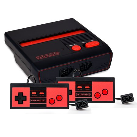 Retro-Bit RES Top Loading Nintendo NES Original Games Console w/HDMI Port w/2 Pack Classic Pro Controllers - Black/Red