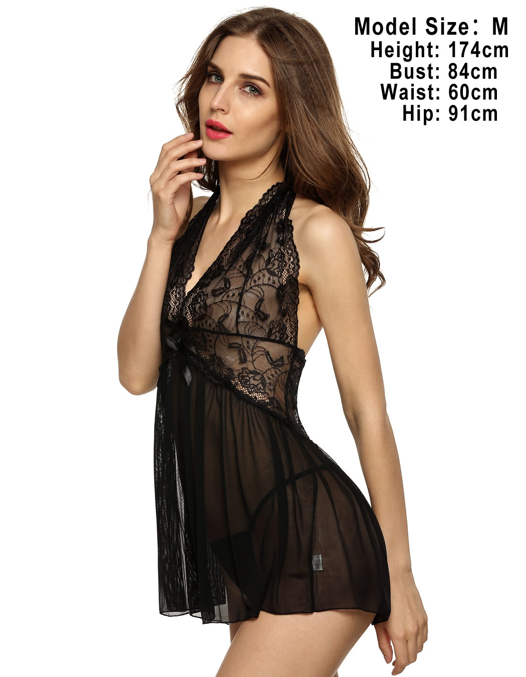 Women Lingerie with G-string Mini Dress Backless See-through ...