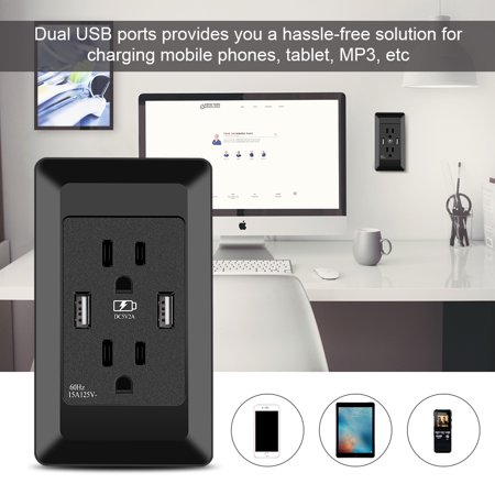 Garosa Dual USB Wall Socket,15A Double Power Outlet Supply Receptacle with Dual USB Wall Charger Socket for US Plug Black Wall Socket - image 8 of 10
