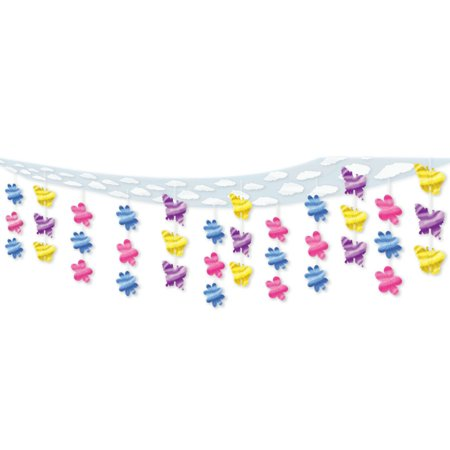 6 Colorful Butterfly and Flower Springtime Hanging Ceiling Party Decorations 12' - Butterfly Party Decorations
