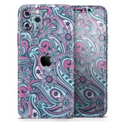Seamless Mint and Pink Sprout - DesignSkinz Protective Vinyl Decal Wrap Skin Cover compatible with the Apple iPhone 8 (Full-Body, Screen Trim & Back Glass Skin)