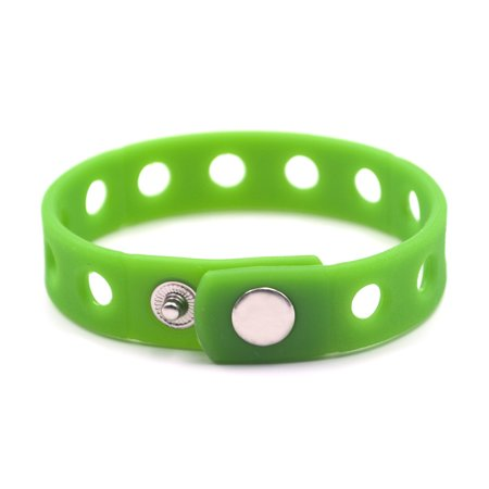 Charms For Bracelets Wholesale (GOGO Adjustable Silicone Wristband Bracelet For Fit Shoe Charms Adult & Kid Wholesale for Party Gift-Adult Green-10)
