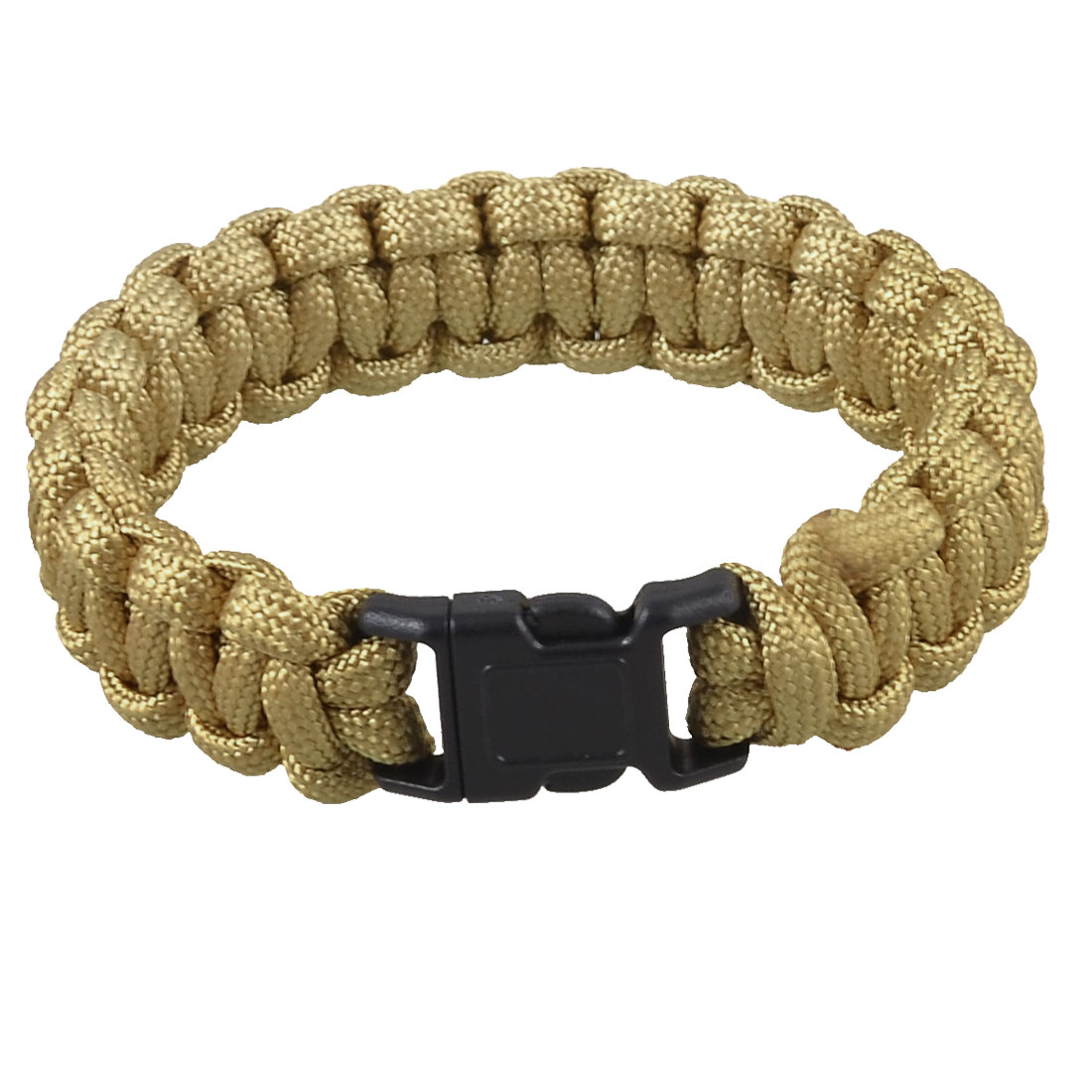 Camping Hiking Side Release Buckle Parachute Cord Survival Bracelet Khaki 220Lbs