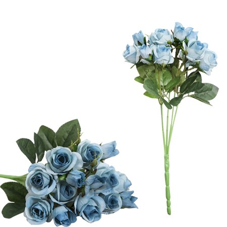 One Branch Artificial Rose 15 Heads Simulation Faux Flowers Wedding Office Room Decoration Blue ()
