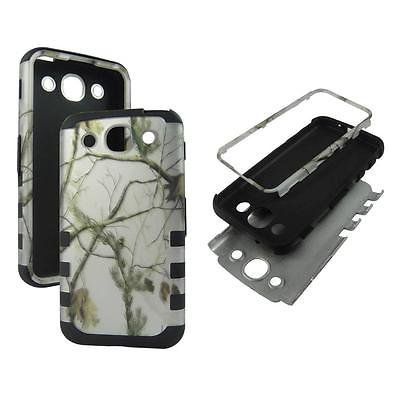 LG Optimus G Pro E980 Hybrid Drop Protective Shock Proof Shock Absorb Enhanced Bumper Dual Layer Designer Case Shield Box Bak Snow Pinetree Camo Case Cover ()