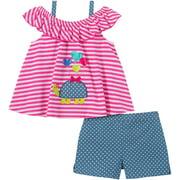 Kids Headquarters Baby Girls Turtle Top & Shorts Set