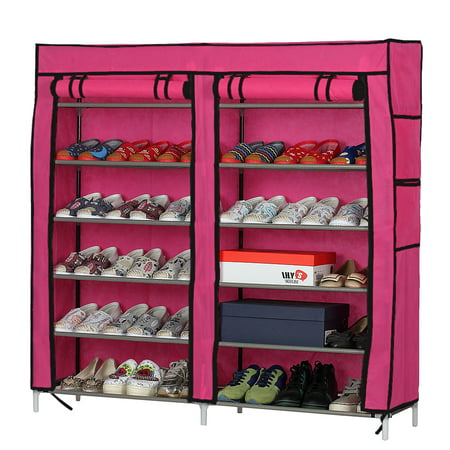 Pine Shoe Rack (Zimtown Fashionable Room-saving 12 Lattices Dual Rows Non-woven Fabric Shoe Rack Rose)