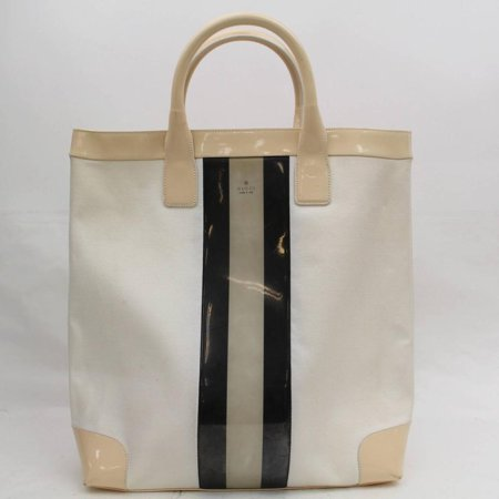 Sherry Ivory Web Per 868130 White Patent Leather Tote