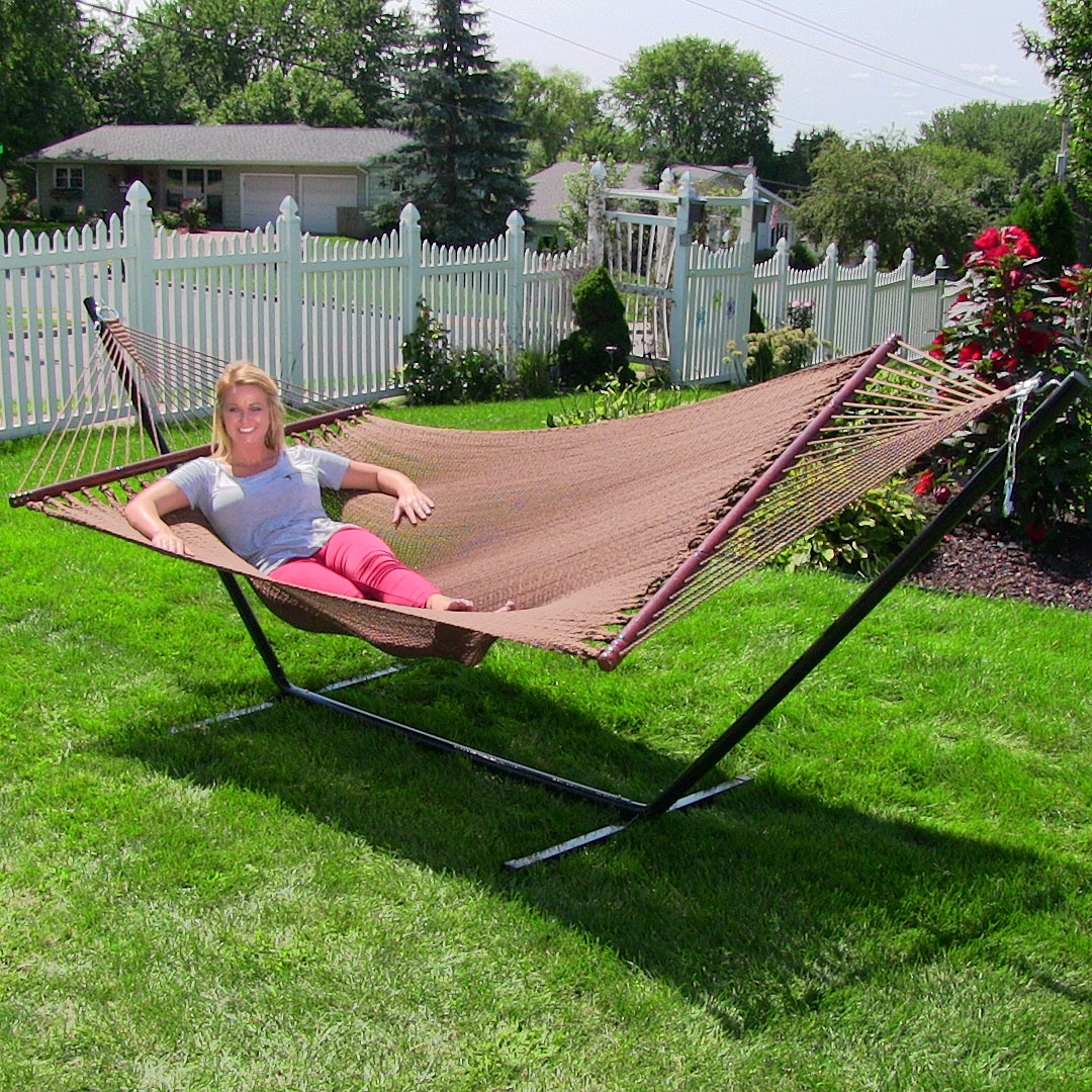 sunnydaze large 2 person soft spun polyester spreader bar rope hammock with stand mocha 350 pound capacity   walmart   sunnydaze large 2 person soft spun polyester spreader bar rope      rh   walmart
