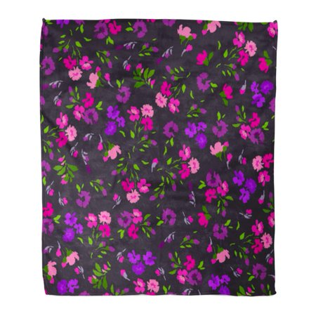 LADDKE Flannel Throw Blanket Colorful Abstract Beautiful Floral Pattern Flower Green Arrangement Pretty Soft for Bed Sofa and Couch 58x80 Inches
