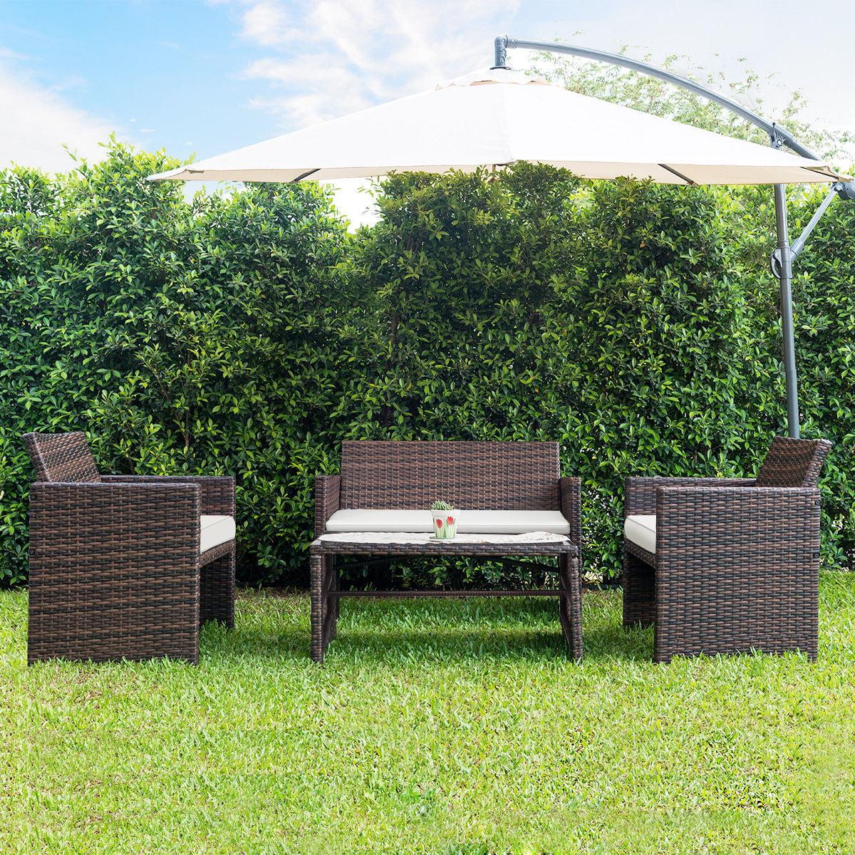 extraordinary outdoor wicker patio furniture sets | Gymax 4 PC Rattan Patio Furniture Set Garden Lawn Sofa ...