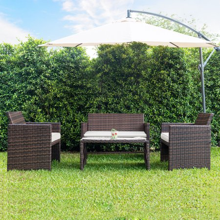 Gymax 4 PC Rattan Patio Furniture Set Garden Lawn Sofa Cushioned Seat Wicker Sofa