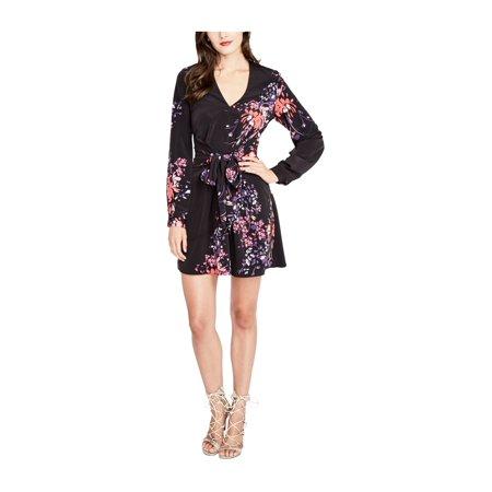 Rachel Roy Womens Long Sleeve Floral Wrap Dress blackcombo 6 - image 1 de 1