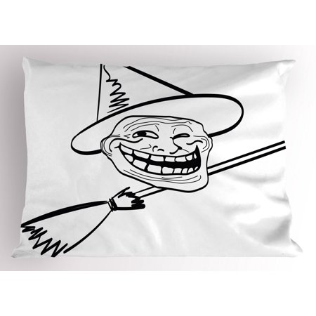Halloween Witch Memes (Humor Pillow Sham Halloween Spirit Themed Witch Guy Meme Lol Joy Spooky Avatar Artful Image Print, Decorative Standard Queen Size Printed Pillowcase, 30 X 20 Inches, Black and White, by)