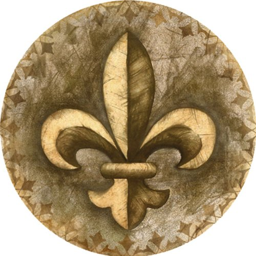 "Absorbent Drink Coasters with Holder, Fleur de Lis, 4"" diameter By Thirstystone"