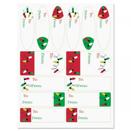 Holiday Lights Christmas To/From Labels - Set of 42 gift tags
