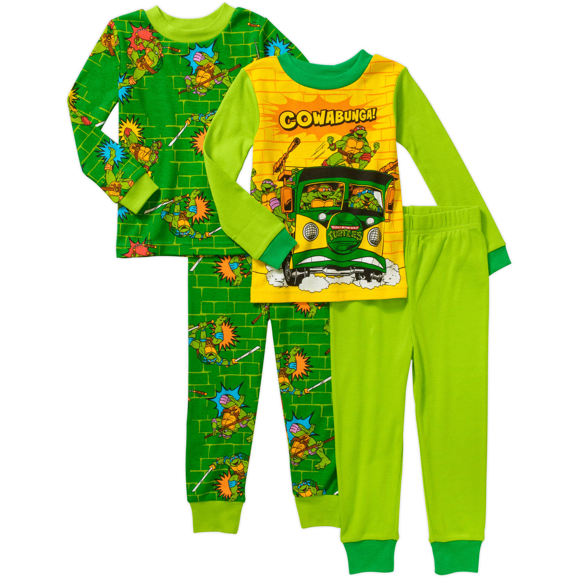 Teenage Mutant Ninja Turtles Baby Toddler Boy Cotton Tight-Fit Pajamas, 4-Piece Mix and Match Set