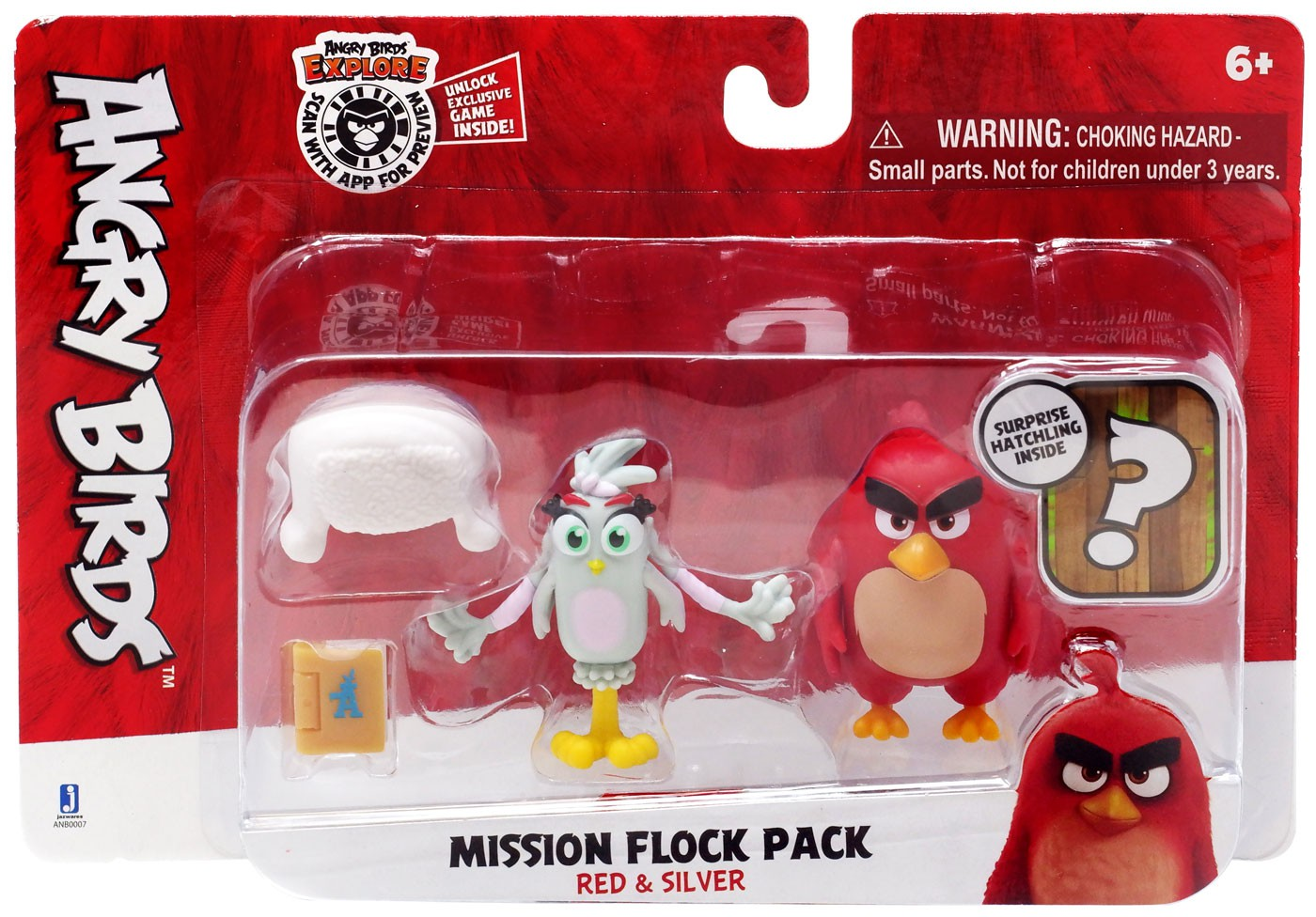 Angry Birds Mission Flock Pack Red Silver Figure 2 Pack