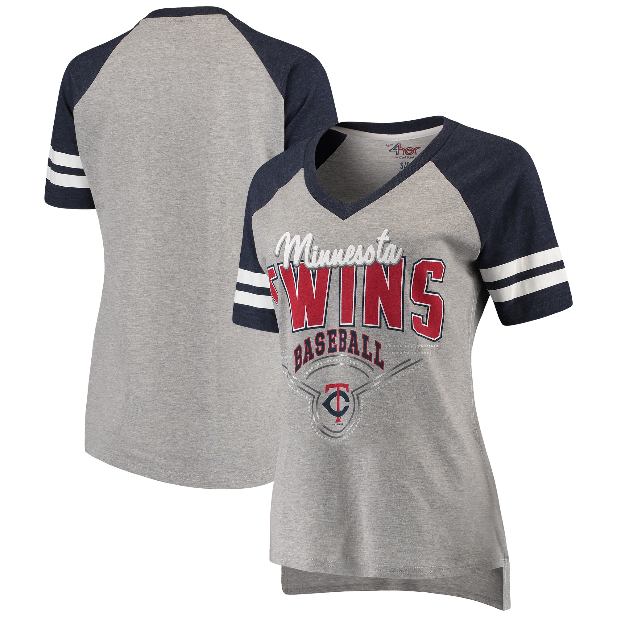 Minnesota Twins G-III 4Her by Carl Banks Women's Goal Line V-Neck T-Shirt - Heathered Gray/Navy