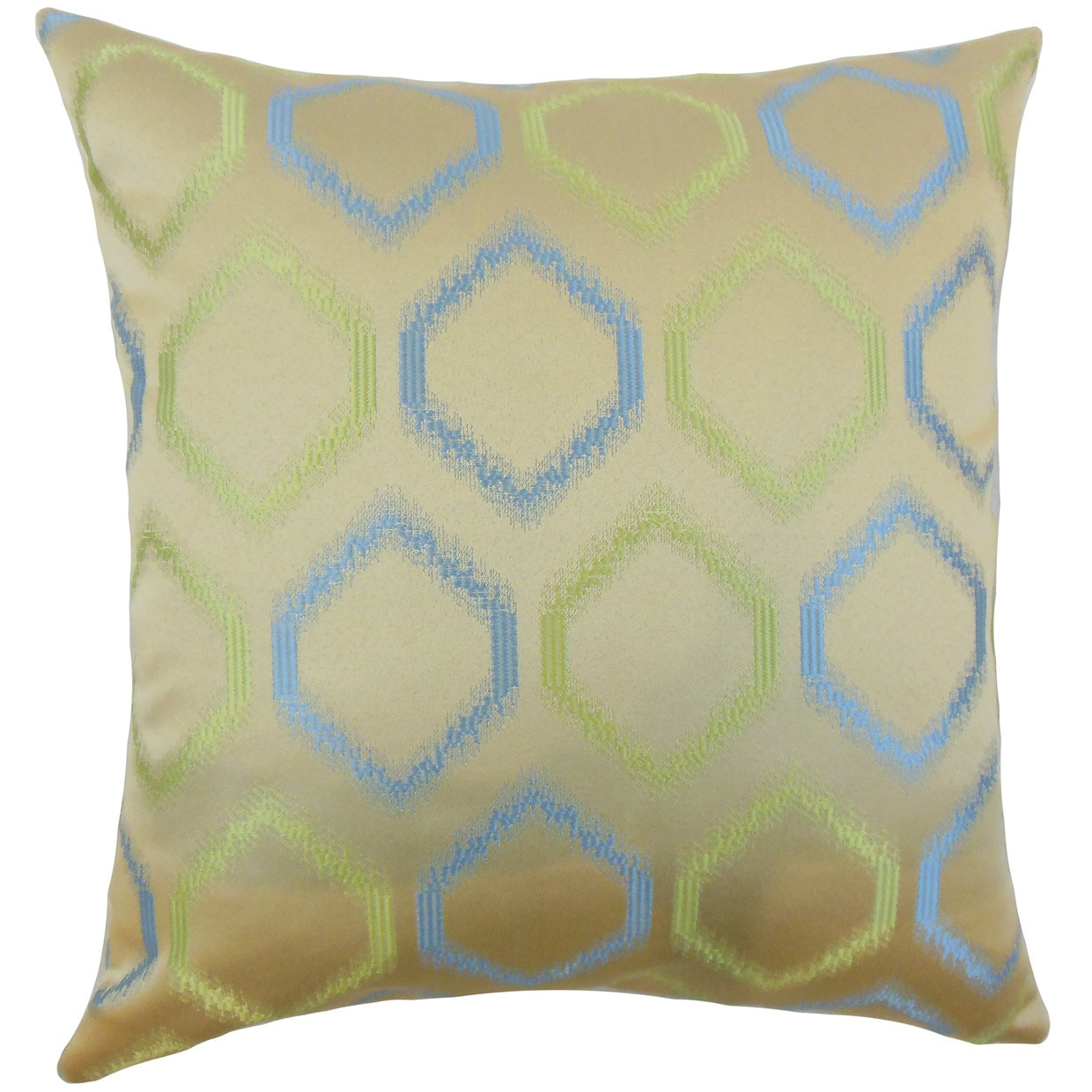 The Pillow Collection Ofira Geometric 24-inch Down Feather Throw Pillow Placid Blue
