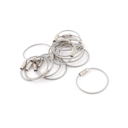 15Pcs Screw Buckle Steel Cable Wire Rope Key Ring Holder Keychain Keyring